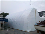 Bow roof shed as a temporary workshelter for renovation a boat in Valentia Island. We built the bow roof shed as well! Gallery Thumbnail