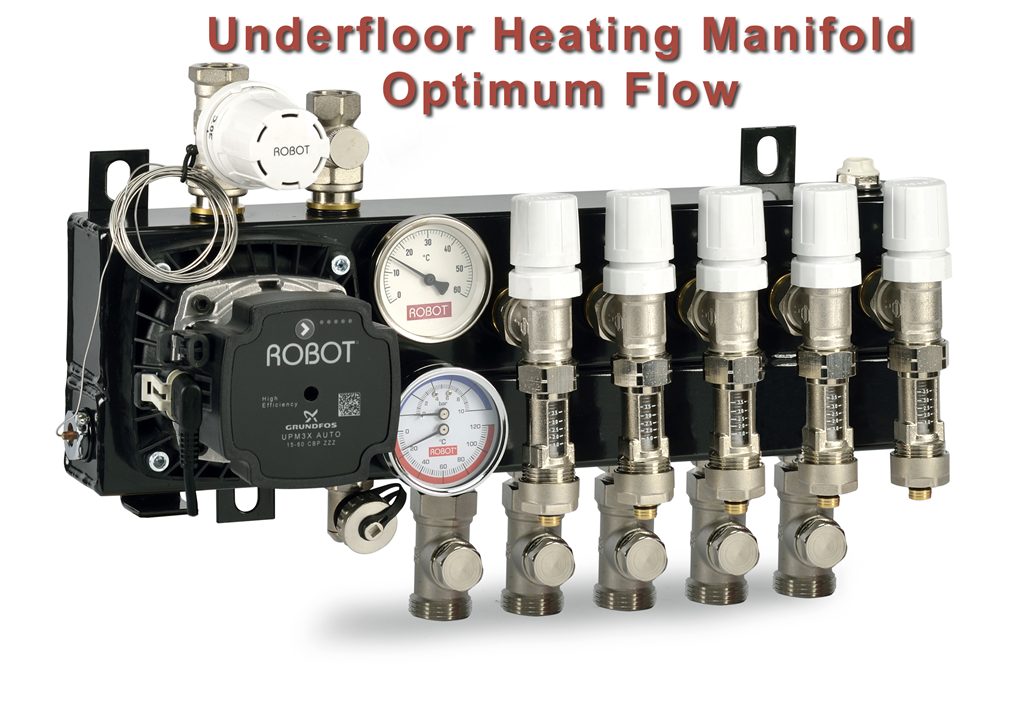Optimum Flow Compact Manifold, with flow meters, Grundfos UPM3 pump, Robot underfloor heating Gallery Image