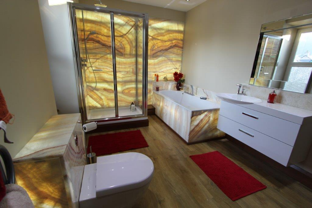 Domestic bathroom with back-lit onyx Gallery Image