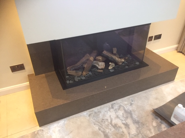 Caesarstone Wild Rice Quartz fireplace, Liverpool Gallery Image