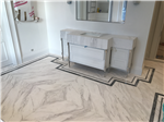 Ariston bookmatched marble floor with Bardilio marble borders, London. Gallery Thumbnail