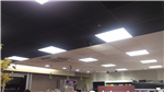 Retail shop required acoustic ceiling spray painted black. The picture shows before and after. 