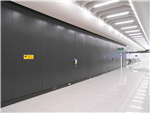 Metal wall panels spray painted at London airport by CEILCOTE. Gallery Thumbnail