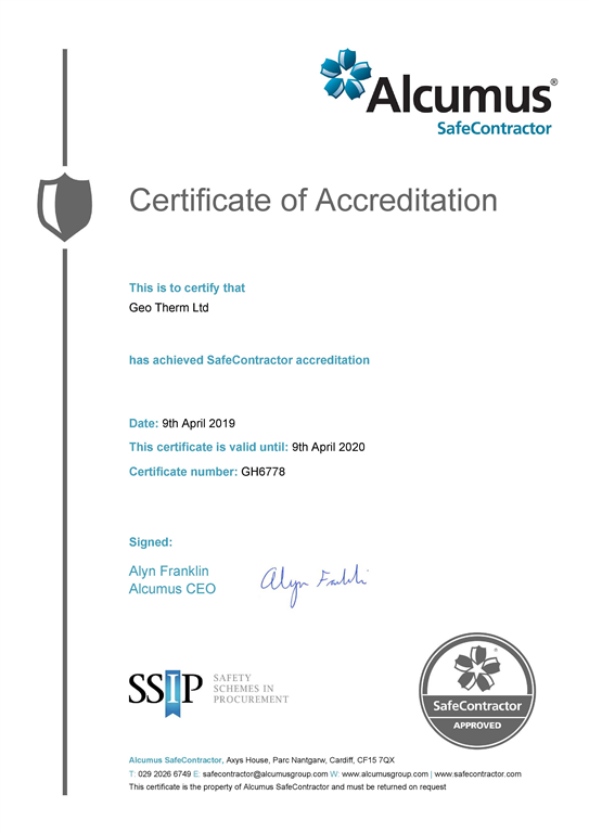 Geo Therm Ltd Are Delighted To Announce That Yet Again We Have Been Awarded With The Safe Contractor Accreditation, Proving Our Dedication To Safety And High Standard In Our Surveys. Gallery Image