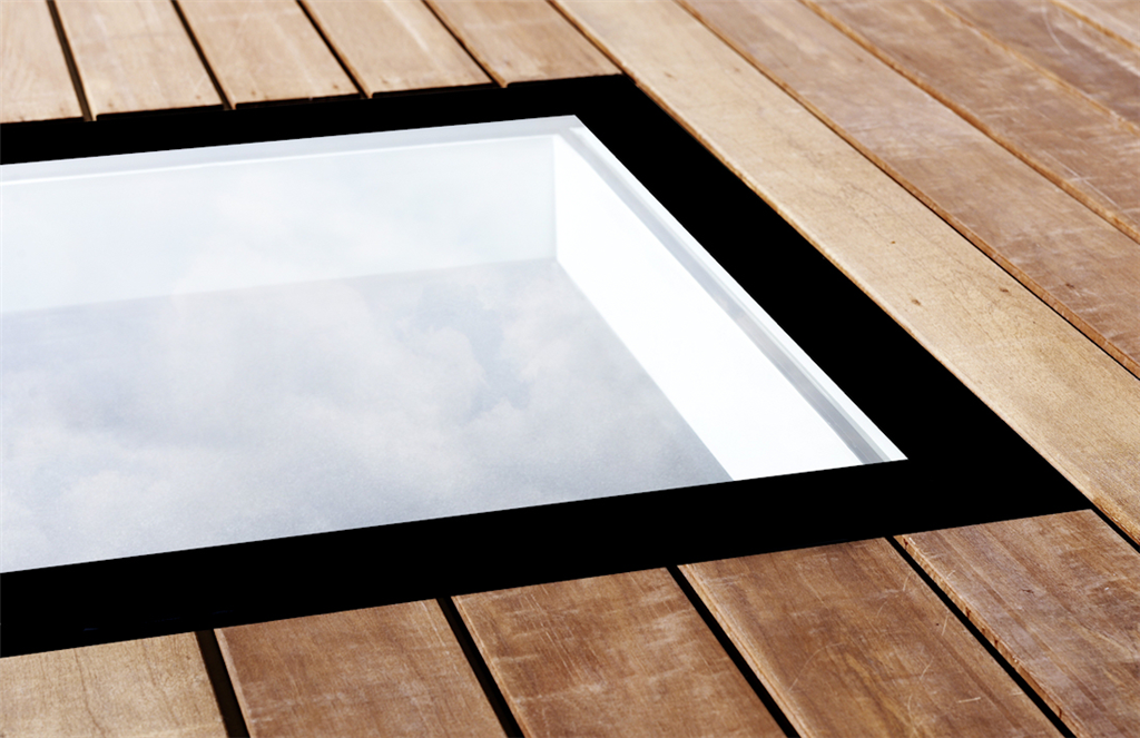 Walk on glass rooflight for roof terraces and balconies Solarglaze skylight Gallery Image