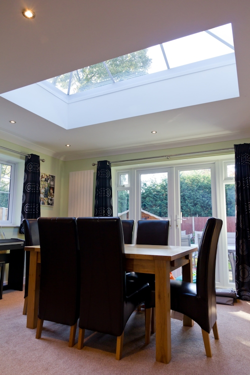 Roof lantern glass rooflight in living room  Gallery Image