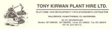 Tony Kirwan Plant Hire Limited